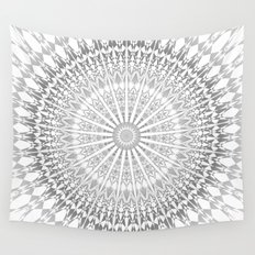 Gray White Mandala Wall Tapestry