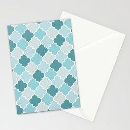 Blue Moroccan Trellis, Latticework, Quatrefoil Stationery Cards