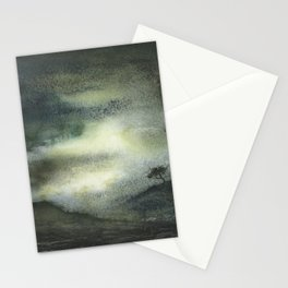 Watercolor landscape painting of sunset with tree silhouetted.  Moody artwork landscape painting watercolor Stationery Cards