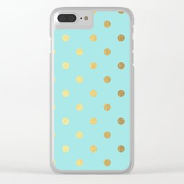 Gold polka dots on aqua background - Luxury turquoise pattern Clear iPhone Case