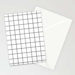 Grid Simple Line White Minimalistic Stationery Cards