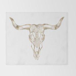 Bull Skull Gold Throw Blanket