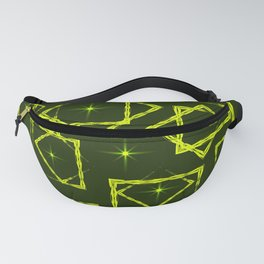 Yellow diamonds and squares at the intersection with the stars on a mustard background. Fanny Pack