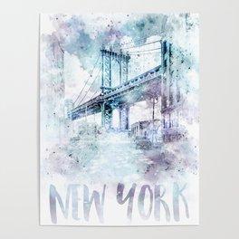 Modern Art NYC Manhattan Bridge   watercolor Poster