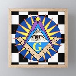 Masonic Square & Compass On Blue Disc Framed Mini Art Print