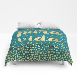 Pura Vida Gold on Teal Comforters