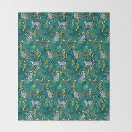 Lemurs in Teal Jungle Throw Blanket