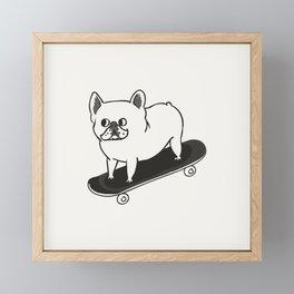 Skateboarding French Bulldog Framed Mini Art Print