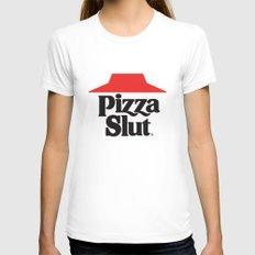 Pizza Slut White MEDIUM Womens Fitted Tee