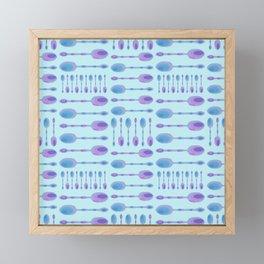 Unique Artsy Spoons! (Light Blue) Framed Mini Art Print