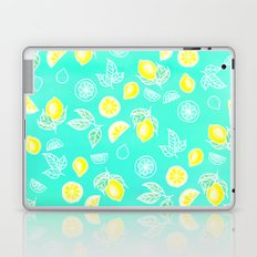 Modern summer bright yellow green lemon fruits watercolor illustration pattern on mint green Laptop & iPad Skin