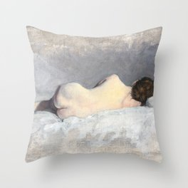 Soft Pastel Nude Female Oil painting of Woman Sleeping Throw Pillow