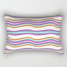 Colorful Wavy Stripes Pattern Rectangular Pillow
