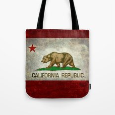 Californian flag, the Bear flag in retro grunge Tote Bag