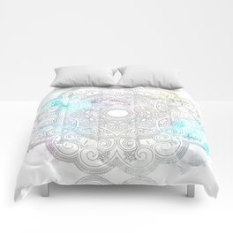 abstract gray and turquoise mandala design in minimal style Comforters