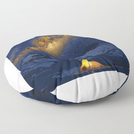 Glowing Tent Under Milky Way Floor Pillow