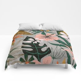 tropical floral on gray Comforters