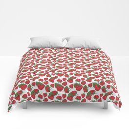 Strawberries - Summer Doodle Pattern Comforters
