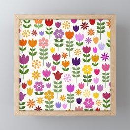 Scandinavian Style Colorful Flowers Pattern Framed Mini Art Print