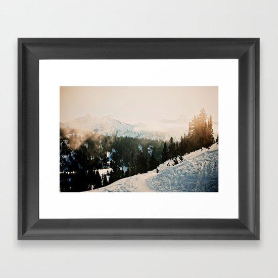 Winter Mountain Hike Framed Art Print