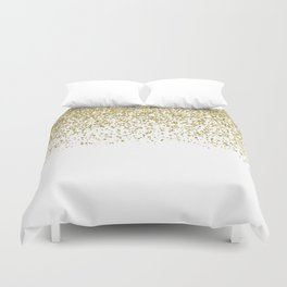 Sparkling gold glitter confetti on simple white background - Pattern Duvet Cover