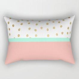 Coral teal color block faux gold foil polka dots pattern Rectangular Pillow