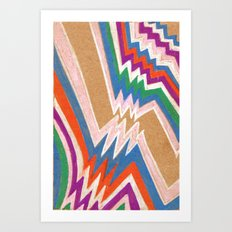 wonky chevron Art Print