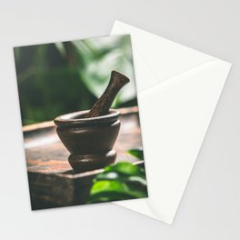 Mortar and pestle on tropical background. Spa or herbal medicine concept Stationery Cards