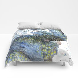 """Watercolor Painting of Picture """"Black Cockatoo"""" Comforters"""