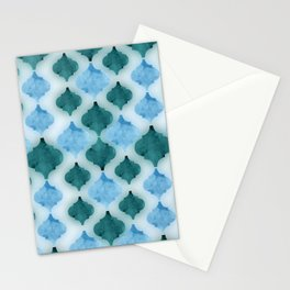 Marbled quatrefoil pattern in shades of blue  Stationery Cards