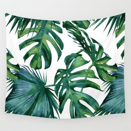 Classic Palm Leaves Tropical Jungle Green Wall Tapestry