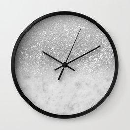White Marble Silver Ombre Glitter Glam #1 #shiny #gem #decor #art #society6 Wall Clock
