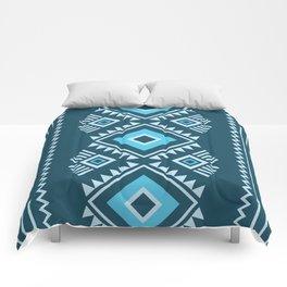 Blue geometric pattern Comforters