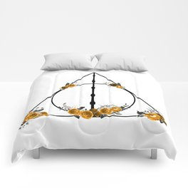 Deathly Hallows in Gold and Gray Comforters