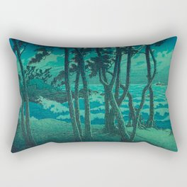 Kawase Hasui Vintage Japanese Woodblock Print Cluster Of Pine Trees Near The Water's Edge At Night Rectangular Pillow