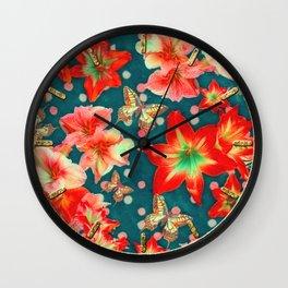 Amaryllis and Butterflies 2 Wall Clock