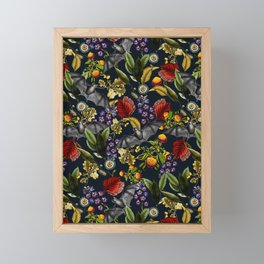 Flying Fox and Floral Pattern Framed Mini Art Print