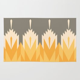 Tribal Feather Pattern Yellow Gold Rug