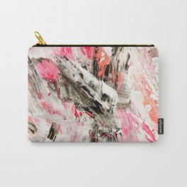 Candy Modern abstract pink salmon black grey acrylic brushstrokes painting Carry-All Pouch