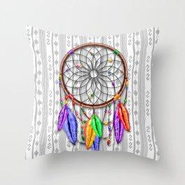 Dreamcatcher Rainbow Feathers Throw Pillow