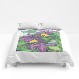 Goldfinches and Purple Clematis Comforters