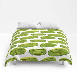 Pattern with green cucumbers Comforters