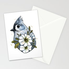 Tufted titmouse with white petunias Stationery Cards