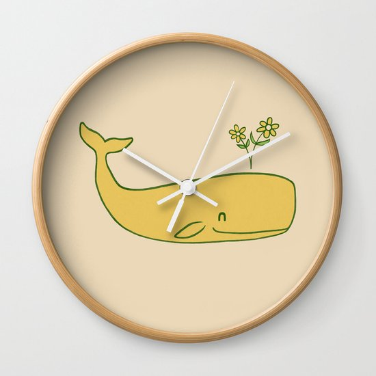 Peace Whale - colour option Wall Clock