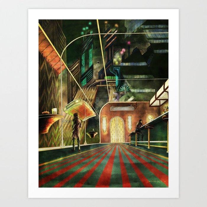 Cyberpunk Bar at Night Art Print
