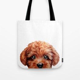 Toy poodle red brown Dog illustration original painting print Tote Bag
