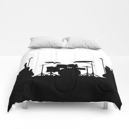 Rock Band Equipment Silhouette Comforters