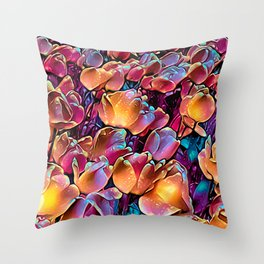Midnight Magic Tulip Field Throw Pillow