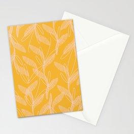 Retro Botanical Pattern in Light Blush Pink and Mustard Orange Stationery Cards