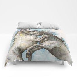 Fighting horses Comforters